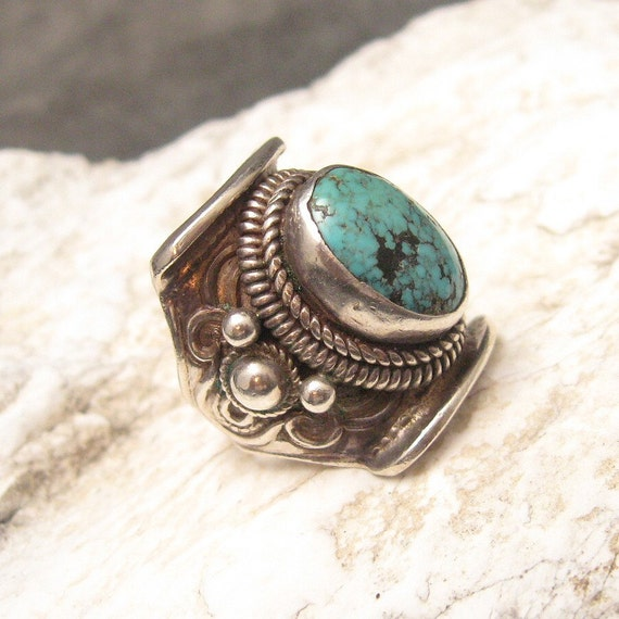 Vintage Sterling Ring Turquoise Saddle Style H090
