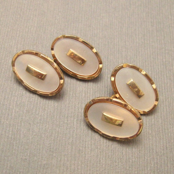 Vintage Deco Cufflinks Mother of Pearl Rolled Gold H117