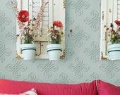 Flourish Allover: Reusable Wall Stencil for DIY decor - decorative stencil, flourish stencils, french stencils, provencial stencil