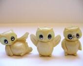 Trio of Plastic Owls