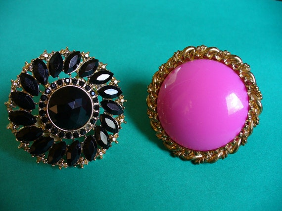 Lot of TWO Vintage Rings Big and Bright