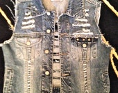 MADE TO ORDER- Destroyed Jean Vest WIth Studding