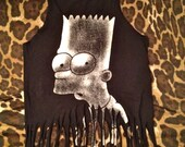 Semi Annual Sale On Now- Fringed Hipster Crop Tank Bart Simpson