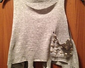 Semi Annual Sale Now On - Distressed Cross Cut Out Fringed Tank with Studded Pocket