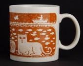 Vintage Taylor & Ng Mug - Primitives Series Cat and Fish