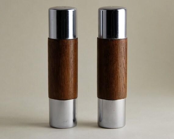 RESERVE FOR ROMINA: Danish Modern Style Teak and Stainless Salt & Pepper Shaker Set
