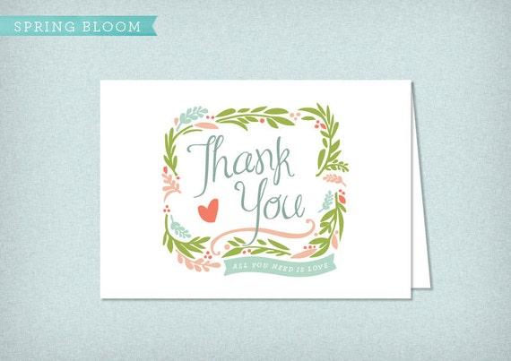 Spring Bloom DIY Printable Thank You Card