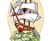 Set Sail- 8.5x11 print Tattoo and Natutical inspired portrait of a clipper ship by Jenna Yenik