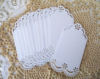 Die CutTags - White Cardstock - 12 pieces - Paper Lace Doily Edges - for Scrapbooking and Card Making