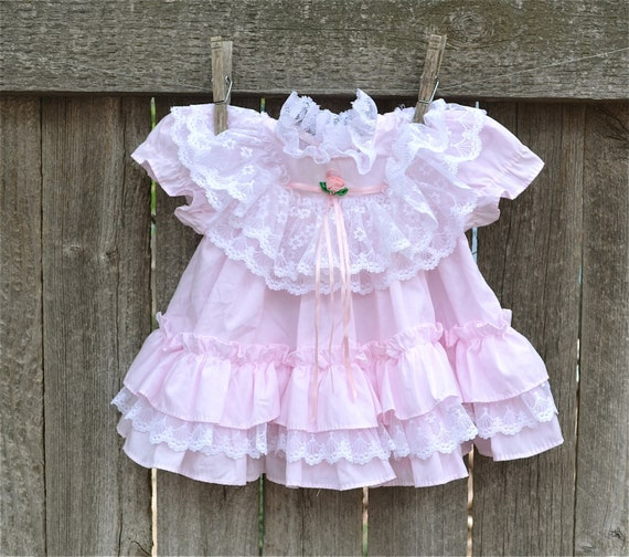 Baby Dress Pink Ruffles And Lace Size 0 to 6 Months