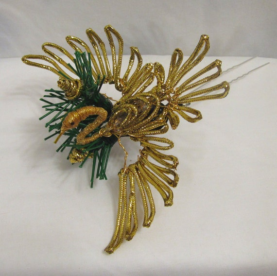 Golden Crane and Pine Kanzashi