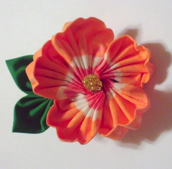 Tropical Orange Hibiscus Flower