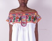 vintage 70s ethnic hippie boho heavily embroidered mexican tunic caftan shirt
