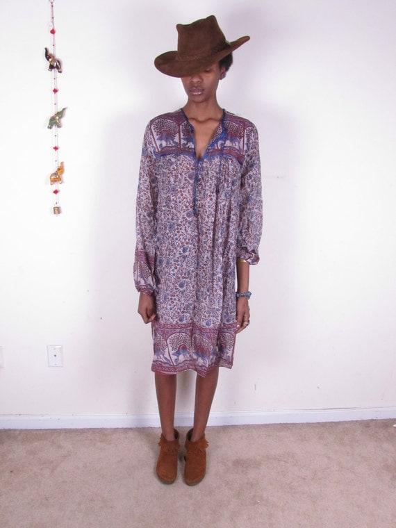 Vintage Hippie MOGUL Indian Gauze Sheer Cotton Bohemian Dress