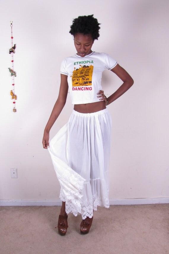 Vintage sheer white comfortable summer cotton gauze lace maxi full length skirt dress xs-lg