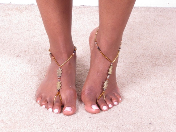 boho bohemian ethnic tribal custom colorful beaded barefoot adjustable toe ring foot thong ankle attached foot thong ring bracelet accessory