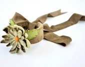 RESERVED- Handmade Chamois Mink Leather Wrist Corsage on Very Special Beige Leather Flower and Green Leaves, Special Leather Jewerly