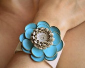RESERVED-Handmade Beige Leather Wrist Cuff on Turqoise Flower with Snap Bracelet. Leather Jewerly.