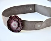 SALE 30% Handmade Light Purple Leather Headband on Special Dark Purple Leather Flower.