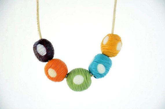 Handmade Polymer Clay Vertical Scratched White Polka Dot Beads Colorful Necklace on a Beige Leather