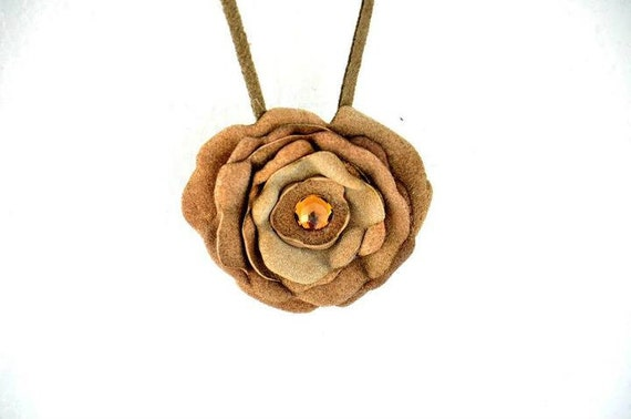 Sale 25% Off  ! Leather Flower Necklace with Swarovski Crystal Necklace on Mink Suede Cord.