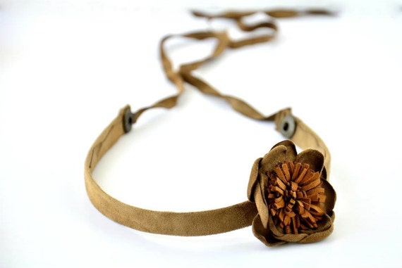 Handmade Chamois Leather Headband with Light Brown and Camel Chamois Leather Flower.Autumn Colors