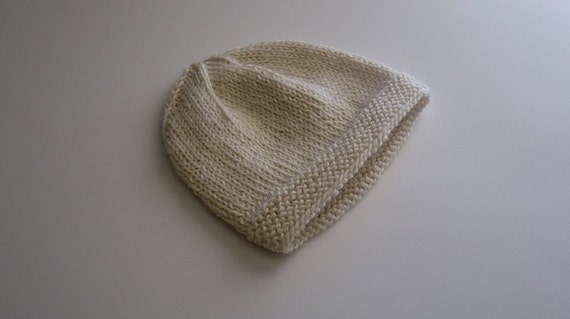 100Purewool 'Natural' 3-ply merino wool beanie - newborn SUMMER SALE
