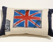 UNION JACK pillow, 12x18, made from up-cycled tee shirt hand stitched on canvas, ends are trimmed in navy valor,backed in cotton canvas.