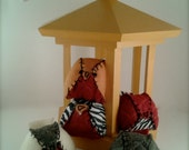 BIRDS in a YELLOW CAGE, wooden bird cage filled with 5 hand stitched round little birds, just perfect for little hands