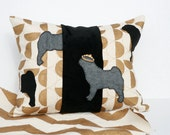 Geometric PUG DOG pillow art, 14x18, hand painted metallic gold circles on canvas, black center, felt hand stitched dogs with jeweled crown.