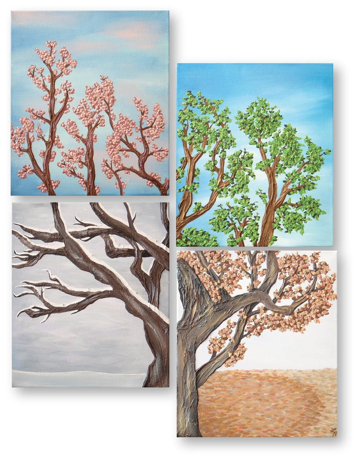 Four seasons tree wall art painting set four by for 4 all decor