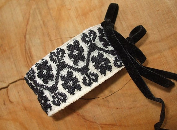 Vintage Traditional Hand Woven Fabric Black Cross Stitch Upcycled Cuff Band Romantic Bracelet
