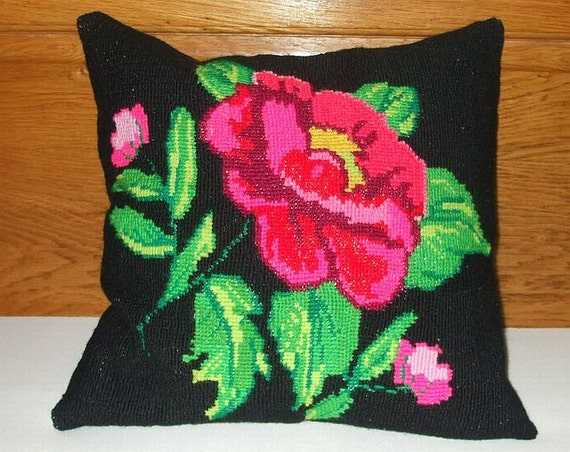 Vintage Cross Stitch Handmade Tapestry Flower Cushion Pillow Cover