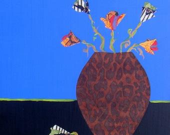 Orange Flowers 1-Original Collage-Mixed Media by Bridgette Raitz