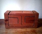 Modern danish mid century wood teak puzzle