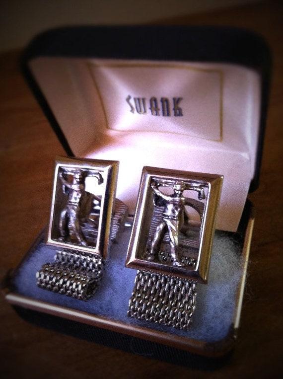 Swank Golf golfer silver tone chain cufflinks cuff links RARE holiday gift