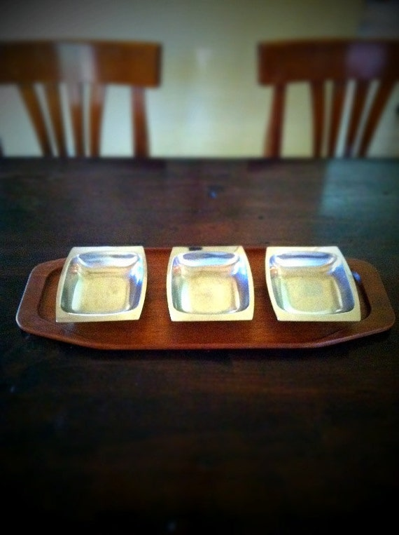 Mid century modern danish teak cheese plate serving platter with stainless steel snack bowls