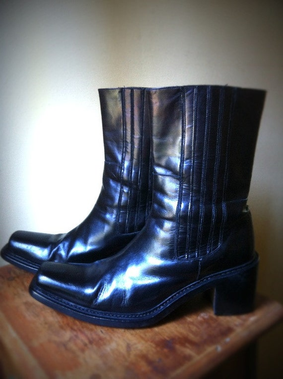 Women's Gianni Barbato Italian black boots size 9 1/2 or EUR 40 cowboy vintage motorcycle leather