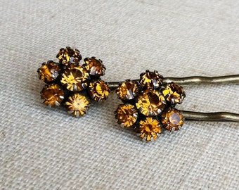 Gold hair accessories, Amber jewelry, Topaz jewelry,Amber Rhinestone Flower Hairpins,November birthday birthstone topaz, hair pin bobby