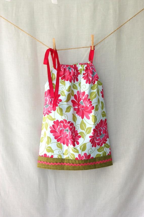 2T Girl Pillowcase Dress /  Pink Flowers and Green /Summer Dress