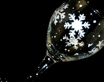 Hand painted wine glass with snowflakes