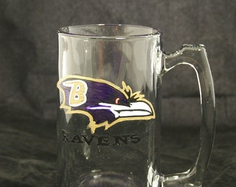 Ravens hand painted Beer Mug, Personalized