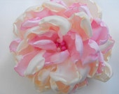 Ivory and pink satin flower brooch pin and hair clip
