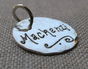 Personalized Charm, Hand Engraved Sterling Silver