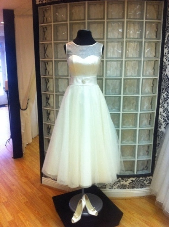 Hepburn tea length wedding dress by lauraleighcouture on etsy for Etsy tea length wedding dress