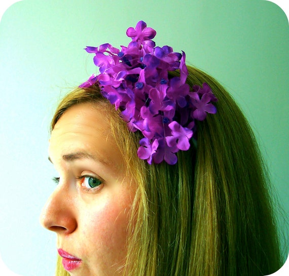 SALE 25% off, Tickle in Lilac - bright purple fascinator headband with blue beads
