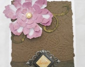 Blank Card - Cherish - Purple Lavender Flower Brown Gold White Friendship Love, Just Because, Birthday, Mothers Day