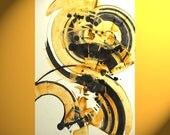 Abstract Art - ORIGINAL Paintings - Contemporary Round Art Spheres - Black and Gold Spheres Delight - 135.122410