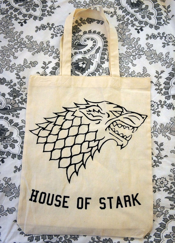 HOUSE OF STARK Tote Bag with Direwolf Design