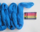 MERINO WOOL TOP - Vibrant Blue (approximately 1 oz) - From Purple Moose Felting